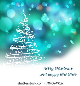 Vector stylized Christmas tree on decorative bokeh background. Merry Christmas lettering text for internet sites, gift cards, flyers and presentations. New year vector illustration
