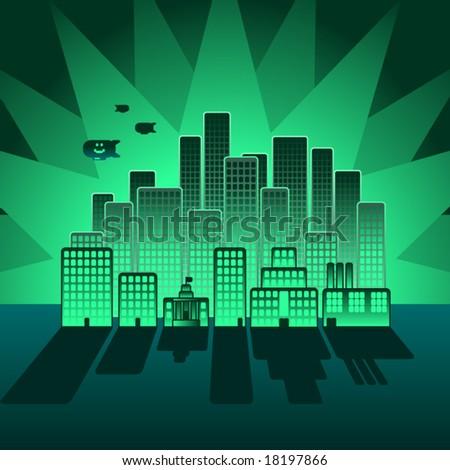 vector stylized city rounded buildings nightfall stock vector