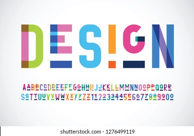 vector of stylized color font and alphabet with underlining