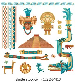 Vector stylized color set of symbols and patterns in the style of the Aztecs and Mayans