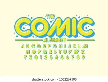 Vector of stylized comical font and alphabet