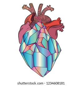 Vector stylized crystal heart with veins