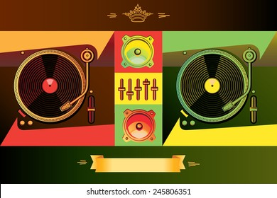 Vector stylized dj's turntables in reggae colors
