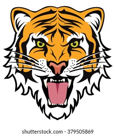 vector stylized face of angry tiger