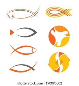 vector stylized fish design elements