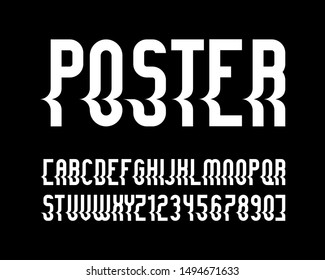 vector of stylized  font and alphabet with shift
