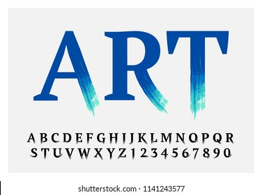 Vector stylized font made of classic letters and brush strokes. Latin alphabet from A to Z and numbers from 0 to 9. Beautiful realistic oil style.