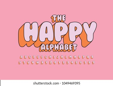 Vector of stylized fun colorful font and alphabet