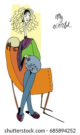 Vector stylized girl, woman, beautiful and happy Cats comfort sitting in a chair Inscription: my world