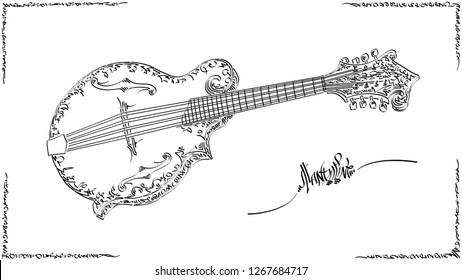 Vector stylized graphic arts sketch of drawing mandoline.