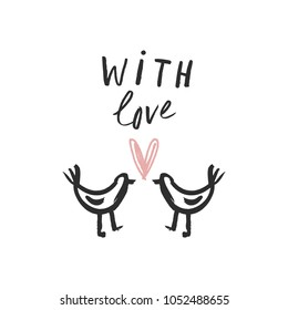 Vector stylized hand drawn birds in love. Scandinavian art. Postcard template. Decor elements. Clipart. Isolated.