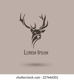 Vector stylized head of a deer. Abstract art shape