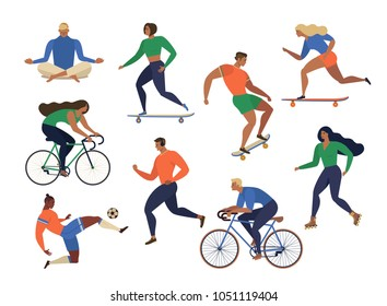 Vector stylized illustration active young people. Healthy lifestyle. Roller skates, running, bicycle, run, walk, yoga. Design element colorful.