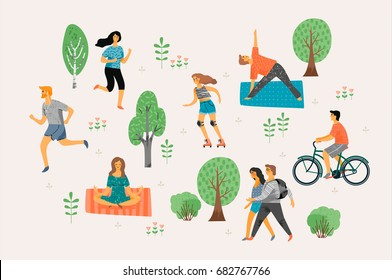 Vector stylized illustration of active young people. Healthy lifestyle. Roller skates, running, bicycle, walk, yoga. Design element in pastel colors with textures.