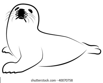 Vector stylized illustration of baby harp seal.