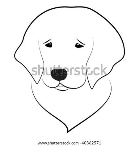 Vector Stylized Illustration Golden Retriever Puppy Stock Vector