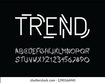 vector of stylized line modern font and alphabet