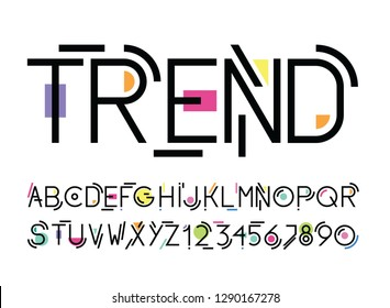 vector of stylized line modern font and alphabet with color elem