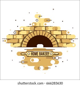 Vector stylized linear image of the oven, wood burning stoves, for logo, restaurants, websites and advertising. A brick oven with a rolling pin for dough and a name, a place for advertising.