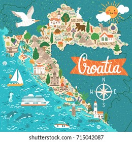 Vector stylized map of Croatia. Travel illustration with croatian landmarks, people, food and plants.