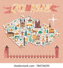 Vector stylized map of Czech Republic. Travel illustration with Czech landmarks, people, food and animals.