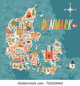 Vector stylized map of Denmark. Travel illustration with danish landmarks, people, food and animals.