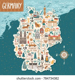 Vector stylized map of Germany. Travel illustration with german landmarks, people, food and animals.