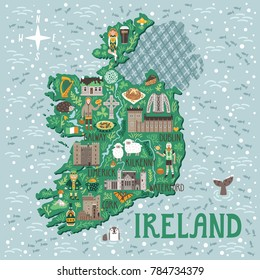 Vector stylized map of Ireland. Travel illustration with Irish castles, people, symbols, traditional food and drinks.