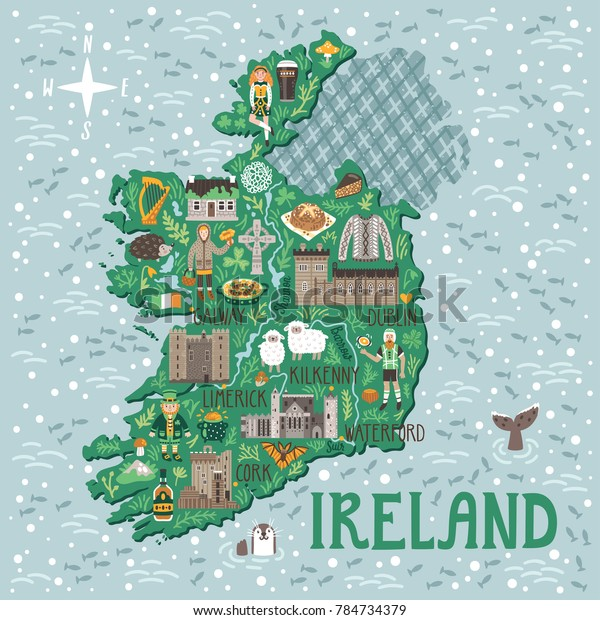 Vector Stylized Map Ireland Travel Illustration Stock Vector ... on