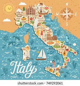 Vector stylized map of Italy. Travel illustration with italian landmarks, people, symbols and traditional food.