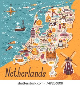 Vector stylized map of Netherlands. Travel illustration with dutch landmarks, people,traditional holland food.