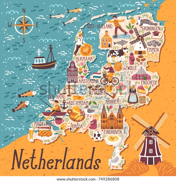 Vector Stylized Map Netherlands Travel Illustration Stock ... on
