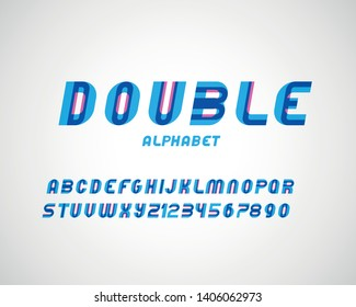 vector of stylized modern double font and alphabet