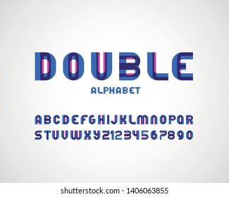 vector of stylized modern double font and alphabet  with effect of transparency