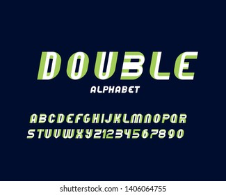 vector of stylized modern double font and alphabet against a dark background