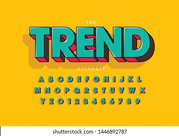 Vector of stylized modern font and alphabet