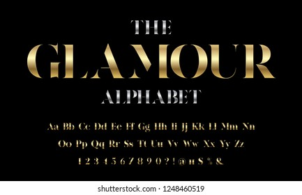 Vector of stylized modern glamorous font and alphabet