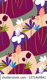 vector stylized modern seamless floral pattern