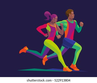 vector stylized multicolored runner