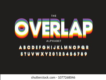 Vector of stylized overlap font and alphabet