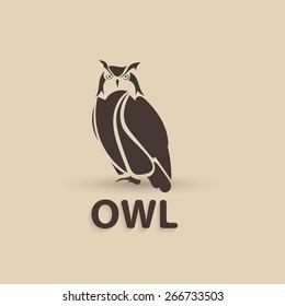 Vector stylized owl. Artistic creative design. Silhouette bird logo icon.