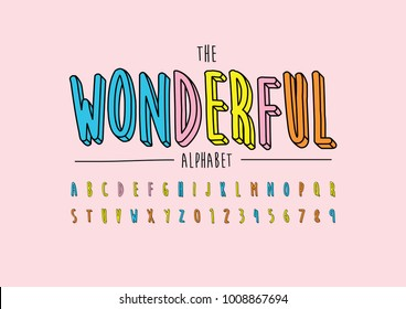 Vector of stylized playful font and alphabet