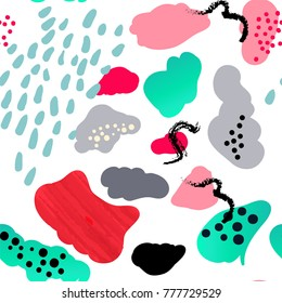 Vector stylized seamless pattern background hand-drawn illustration. Simple shape, bright pattern. Naive splash art style.
