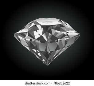 Vector stylized shiny faceted diamond on black background