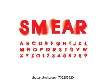 Vector of stylized smeared font and alphabet