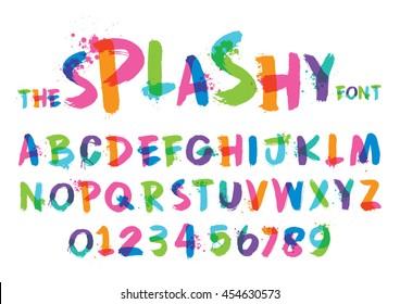 Vector of stylized splashy font and alphabet