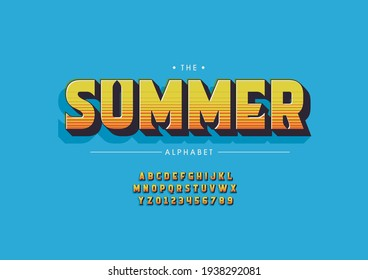 Vector of stylized summer alphabet and font