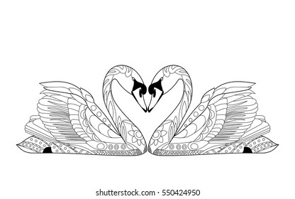 Vector Stylized Swans in love.