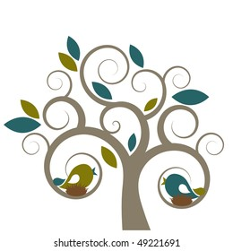 Vector stylized tree & birds.