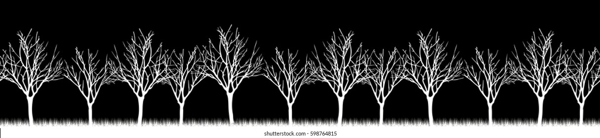 Vector. Stylized tree, Silhouettes of trees , seamless texture with trees. Skinali. Horizontal panorama trees in a forest